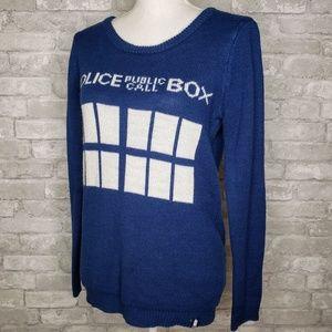 Hot Topic BBC Police Public Call Box Sweater - M